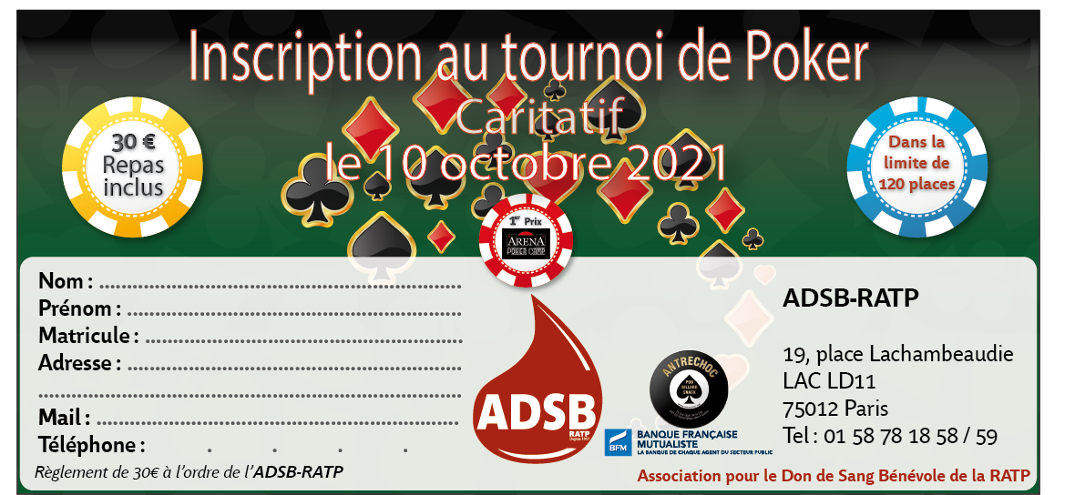 Bulletin inscription poker 10 10 2021